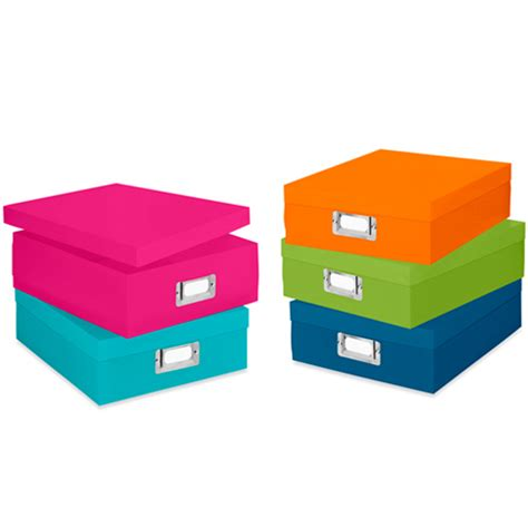 colorful plastic document boxes set    file storage