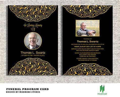funeral invitation  announcement card  funeral card