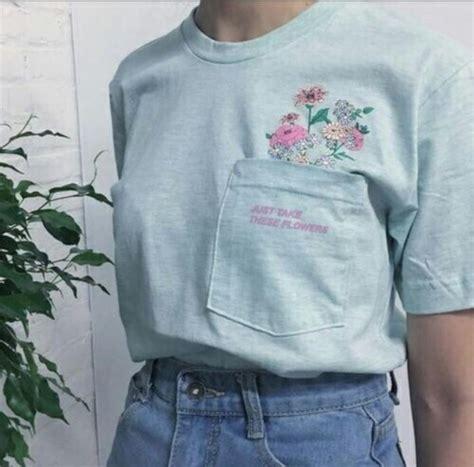 shirt blue shirt flower shirt tumblr outfit tumblr