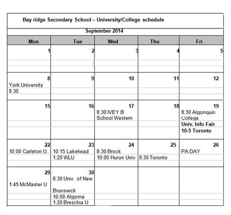 sample college schedule templates  google docs