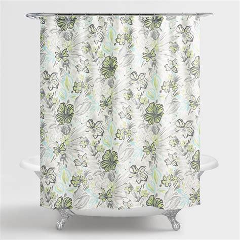 green shower curtain aqua and green underwater floral valeda shower curtain