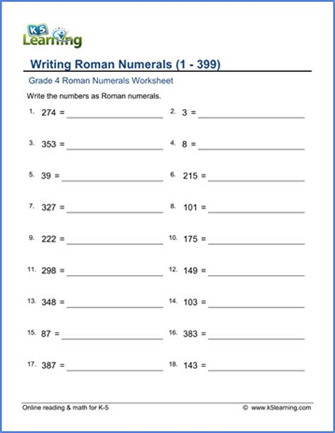 handwriting worksheets for grade 1 pdf grade 4 numeral worksheets 1 399 k5 learning