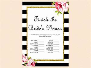 black and white floral bridal shower games magical printable With unique wedding shower games