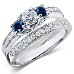 1 carat wedding ring sets 1 carat and blue sapphire wedding ring set for in white gold jewelocean