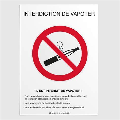 affiche interdiction de vapoter panneau vapotage