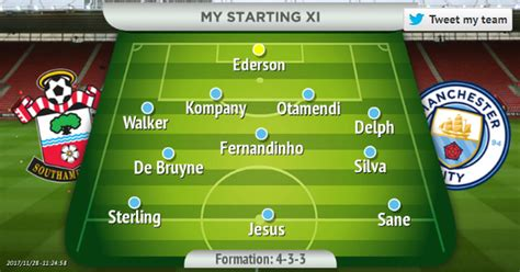 Man City predicted line up vs Southampton - Manchester ...