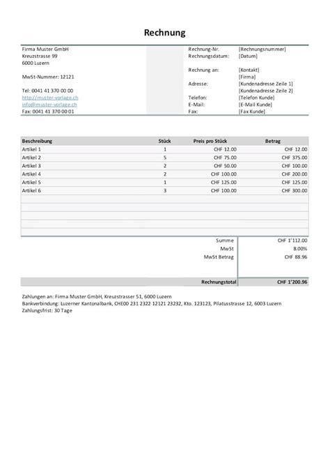 rechnungsvorlage schweiz word excel gratis downloaden