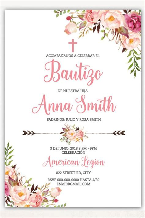 boho baptism invitation girl spanish floral baptism