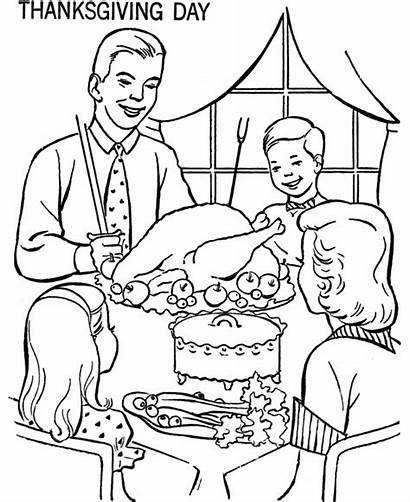 Coloring Thanksgiving Dinner Pages Table Sheets Christian