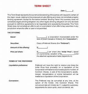 14 sample term sheet templates to download sample templates With acquisition term sheet template