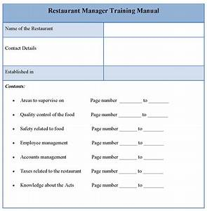 manual template for restaurant manager training format of With o and m manual template