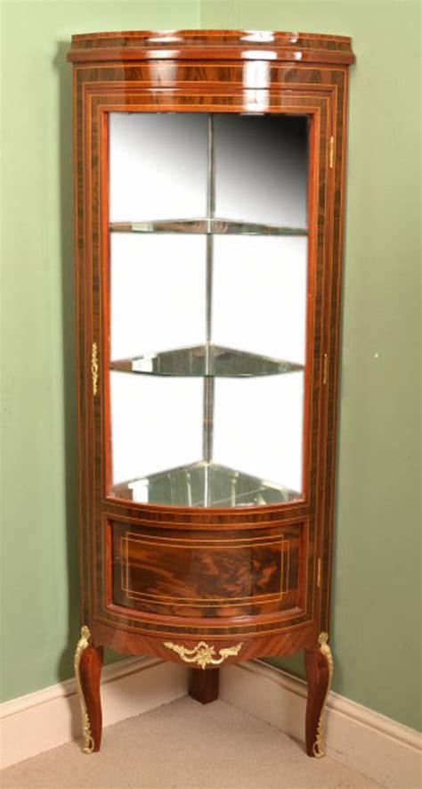mahogany corner display cabinet louis xvi style mahogany glass corner display cabinet 7319
