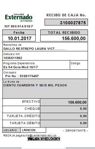recibo de pago universidad externado de colombia