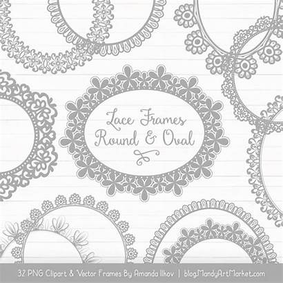 Grey Lace Frames Round Clipart Digital Filter