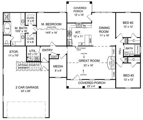 ranch floor plan  bedrms  baths  sq ft