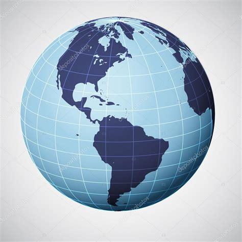 foto de Vector world globe in blue focused on america Stock