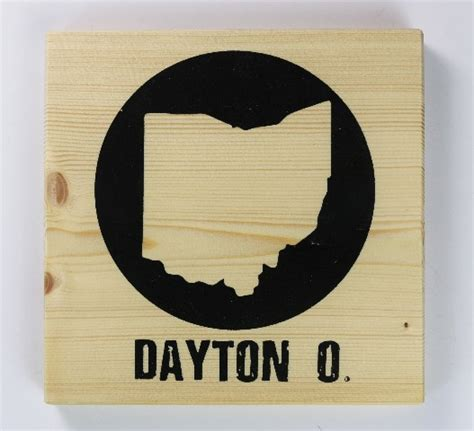 dayton ohio screen printed wood tile wall decor w easy hanging bracket ohio office decor the