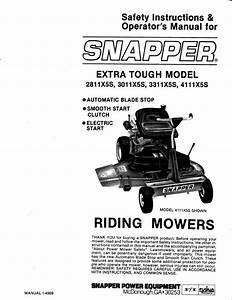 Snapper Lawn Mower 2811x5s User U0026 39 S Guide