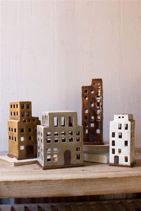set   ceramic building candle holders