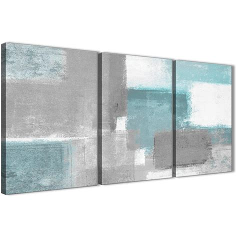 3 panel teal grey painting living room canvas wall art decor abstract 3377 126cm set of prints