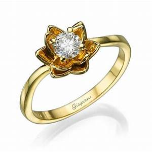 flower engagement ring yellow gold with diamondsunique With flower wedding rings diamond