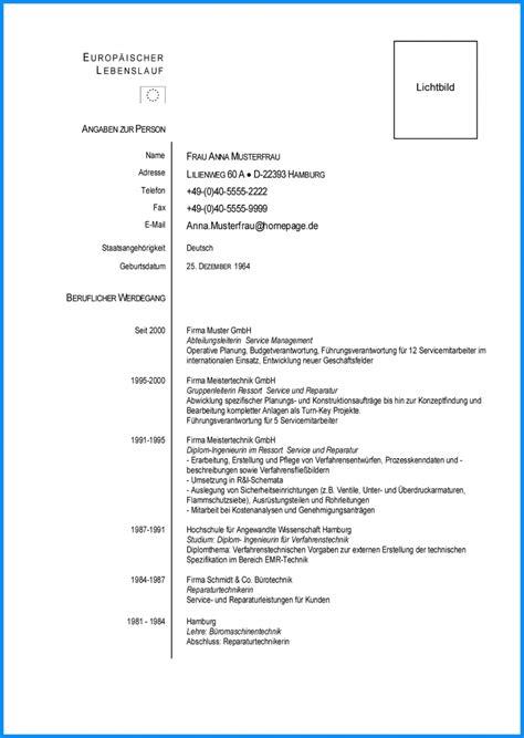 Europã Ischer Lebenslauf Muster ausgezeichnet europ 228 ischer lebenslauf muster word