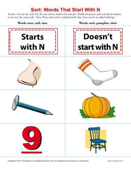 words starting  letter  beginning consonant worksheets