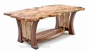 Craftsman Table with Burl Slab, Modern Dining Table, Unique