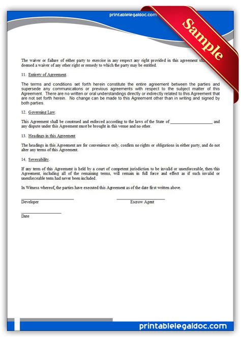 printable source code escrow agreement form generic