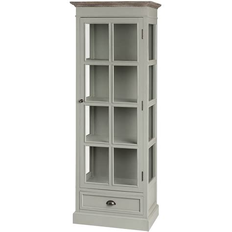 tall kitchen cabinets with glass doors lyon shabby chic display cabinet grey glass door cabinet