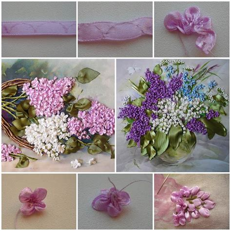 embroidery ribbon lilac flowers