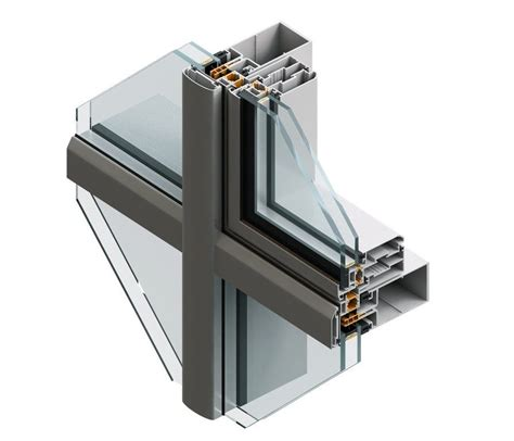 stick system curtain wall aluminum and glass 60 k