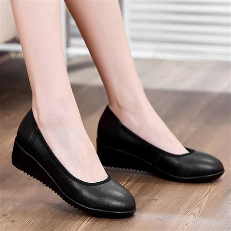 wedges wanita 25 black wedge genuine leather work shoes high heels