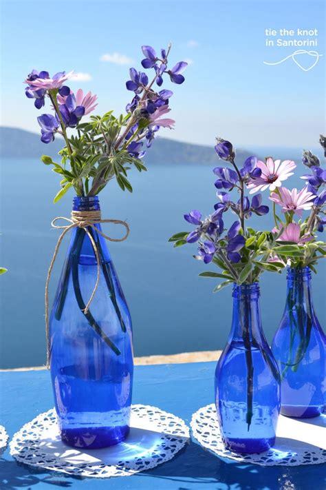 diy santorini wedding decor in blue purple centerpieces weddings and blog