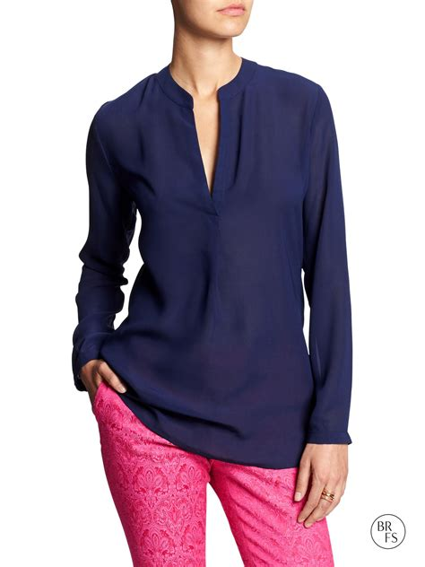 navy blouses banana republic factory sheer georgette blouse navy