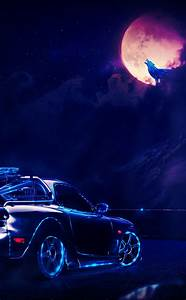 Neon Car Driving To The Moon Wolf  Full Hd 2k Wallpaper