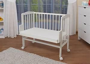 Baby Wiege Weiss : waldin baby beistellbett wiege babybett wei lackiert h henverstellbar ~ Orissabook.com Haus und Dekorationen