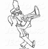 Marching Band Trombone Coloring Cartoon Playing Outline Drawing Vector Printable Getdrawings Leishman Ron Powered Results Bing sketch template