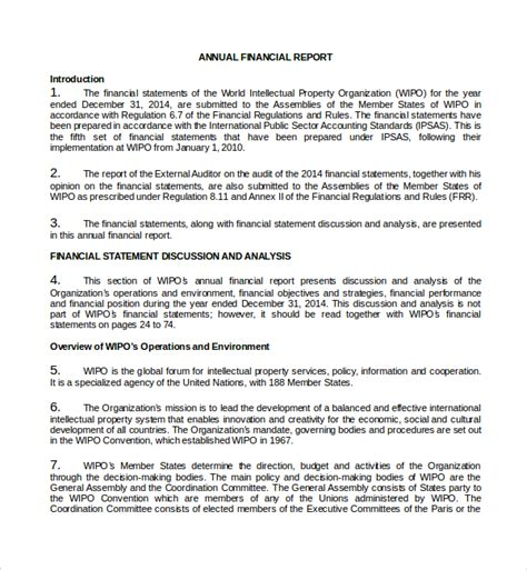 financial report template word sample annual financial report template 9 free