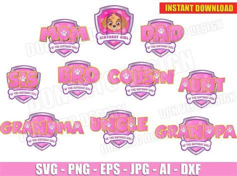paw patrol pink logo girl bundle svg cut file  cricut