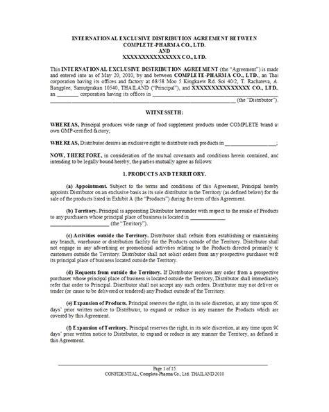 distribution agreement templates templatelab