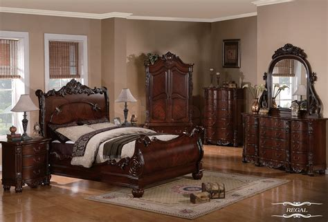 sale regal traditional 5 pc cherry sleigh bedroom set bed dresser mirror and two