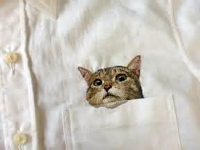 cat pocket artist hiroko kubota embroiders popular cats on