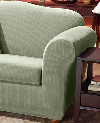 2 piece t cushion sofa slipcover sure fit stretch pinstripe 2 piece t cushion sofa