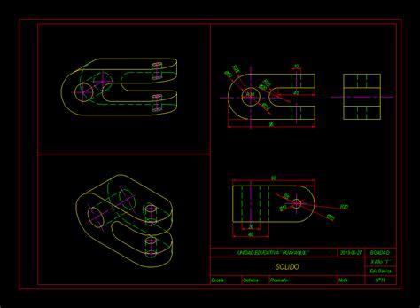 pieza mecanica dibujo tecnico en autocad cad  kb