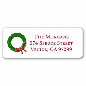 christmas wreath white return address labels paperstyle With christmas return address stickers