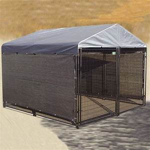 Dog kennel shade kit windscreen cover side weather guard for Large outdoor dog kennel with cover