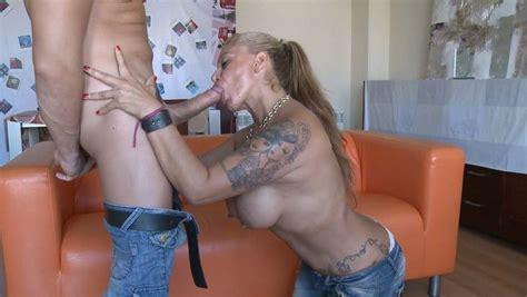Inked Milf With Huge Knockers Sucks Her Lovers Massive