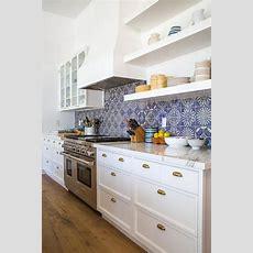 White And Blue Marble Mosaic Kitchen Backspalsh