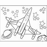 Spaceship Planets Coloring Space Printable sketch template